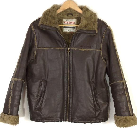 Scotch /& Soda Mens Classic Nubuck Jacket with Detachable Teddy Collar